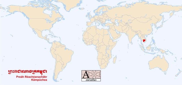 cambodge sur la carte du monde