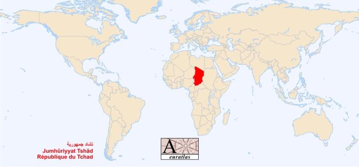 tchad sur la carte du monde