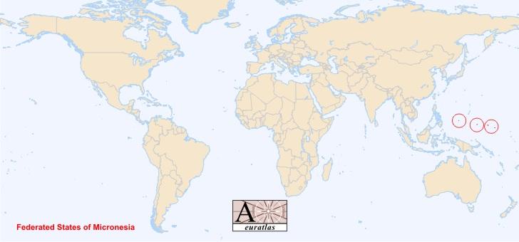 micronesie sur la carte du monde