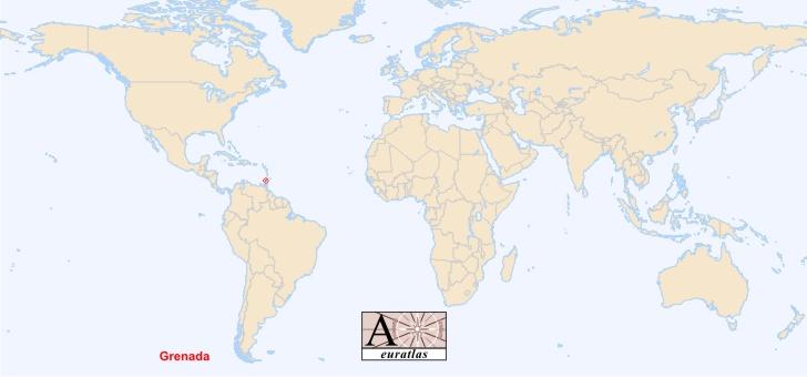 grenade sur la carte du monde