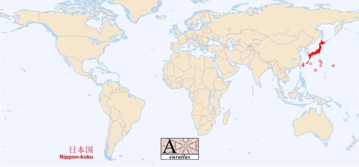 carte du monde japon