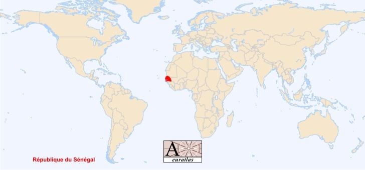 senegal sur la carte du monde