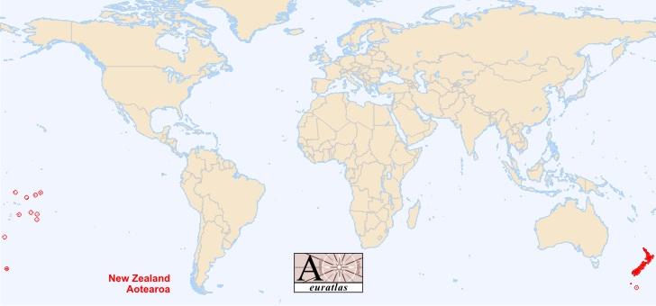 nouvelle zelande carte du monde-